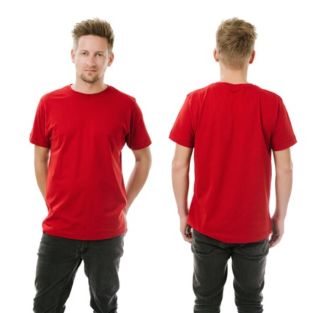 Photo of a man wearing blank red t-shirt