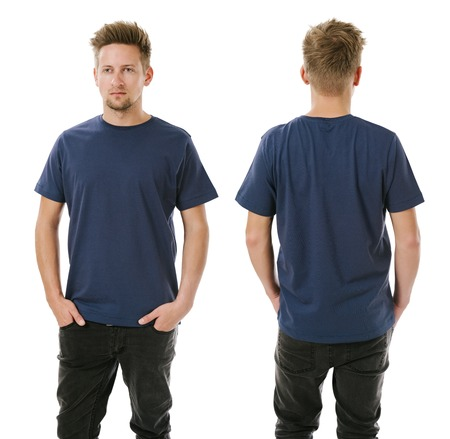 man t shirt: Photo of a man wearing blank navy blue t-shirt, front and back. Ready for your design or artwork. Stock Photo