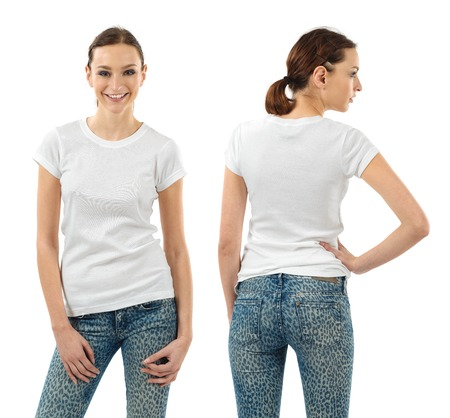 girls back to back: Photo of a beautiful brunette woman with blank white shirt. Ready for your design or artwork.
