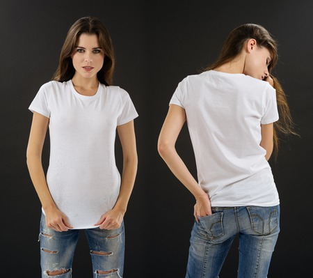 black t shirt: Photo of a beautiful brunette woman with blank white shirt. Ready for your design or artwork.