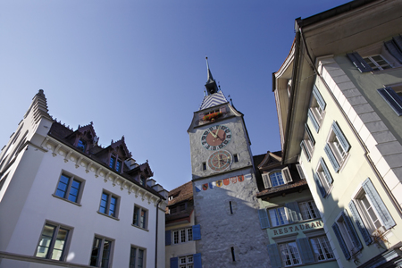 clocktower: ZUG, SWITZERLAND ? October 4, 2009 ? Zytturm clocktower in the old town section of the city of Zug in Switzerland. Editorial