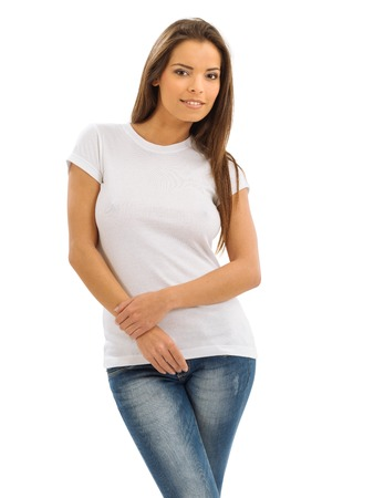 t shirts: Photo of a beautiful brunette woman with blank white shirt. Ready for your design or artwork.