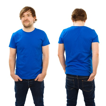 Photo of a man wearing blank blue t-shirt, front and back. Ready for your design or artwork.