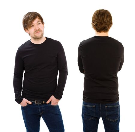 camisas: Foto de un hombre vestido con camisa de manga larga negro en blanco, delante y detrás. Listo para su diseño o ilustraciones. Foto de archivo