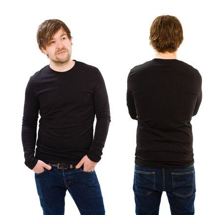 bonhomme blanc: Photo d'un homme v�tu en blanc chemise � manches longues noir, avant et arri�re. Pr�t pour votre conception ou l'illustration.