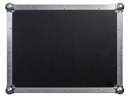 Photo of a isolated road case or flight case with reinforced metal corners.  Background image for music-related shipping and touring. Clipping path included.