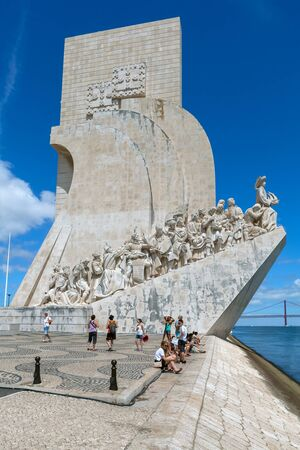 portugal: Lisbon, Portugal - July 24, 2015: Monument to the Discoveries - Padrao dos Descobrimentos. Editorial