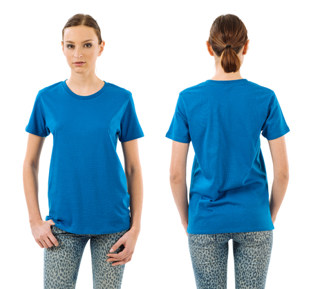 blue shirt: Photo of a young beautiful woman with blank blue shirt, front and back views. Ready for your design or artwork.