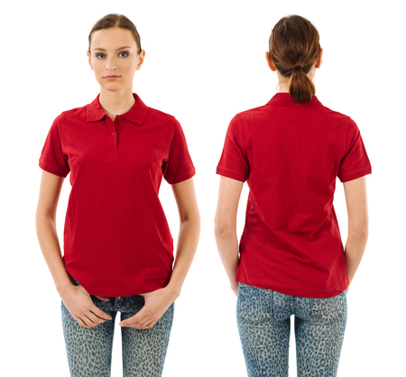 in  shirt: Foto de una mujer hermosa joven con la camisa roja en blanco de polo, vista frontal y espalda. Listo para su dise�o o ilustraciones. Foto de archivo