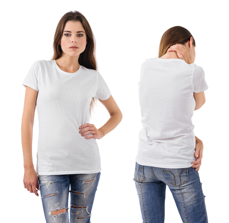 Photo of a beautiful brunette woman with blank white shirt, front and back views. Ready for your design or artwork.