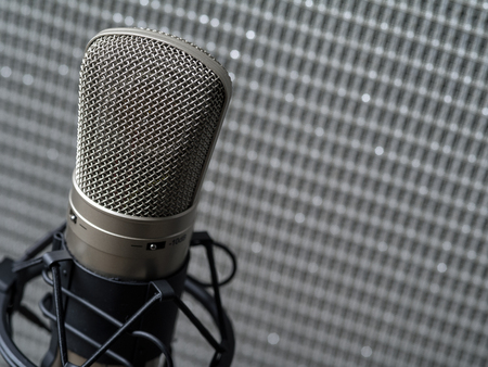 condenser: Photo of a large diaphragm studio condenser microphone in a shock mount in front of a guitar speaker cabinet. Stock Photo