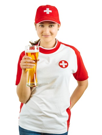 fanatic: Photo of a Swiss sports fans holding a beer and cheering for her team isolated over white background.