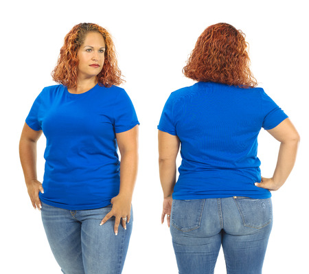 Photo of a woman posing with a blank blue t-shirt, ready for your artwork or design.