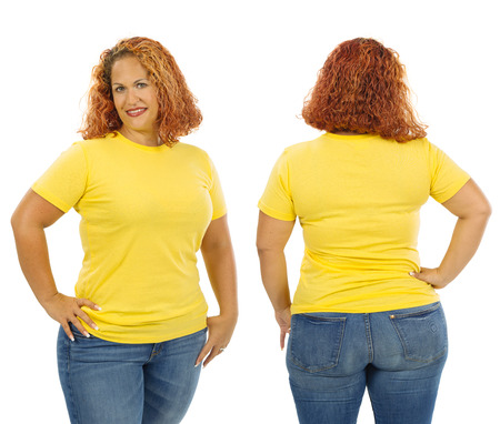 buxom: Photo of a woman posing with a blank yellow t-shirt, ready for your artwork or design.