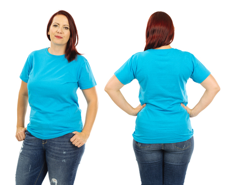 large woman: Photo of a woman posing with a blank light blue t-shirt and red hair, ready for your artwork or design.