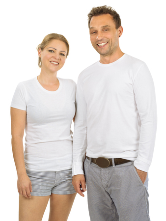 woman white shirt: Photo of a woman and man posing with blank white shirts, ready for your artwork or design.