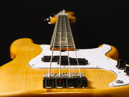 frets: Photo of a electric bass guitar showing perspective from bottom to the headstock. Focus across middle.