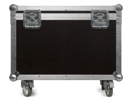 Photo of a isolated road case or flight case with reinforced metal corners and wheels. Clipping path included.