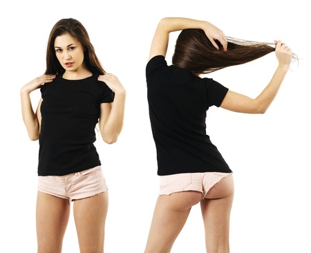 Photo of a beautiful young woman wearing a blank black t-shirt front and back views.