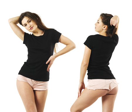 Photo of a sexy young woman with short shorts wearing a blank black shirt, front and back. Stockfoto