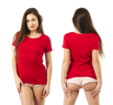 Photo of a sexy young woman with short shorts wearing a blank red shirt, front and back. Standard-Bild