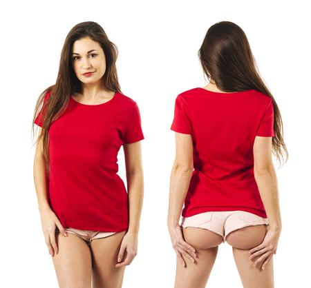 photo d & # 39 ; une jeune femme sexy avec short courts portant un front de main rouge et blanc . front de main