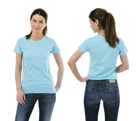 Photo of a sexy young woman wearing a blank light blue shirt, front and back.