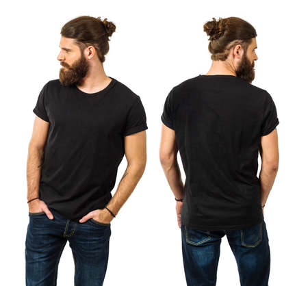 Young man with long hair and beard wearing blank black shirt, front and back. Ready for your artwork. Stock Photo
