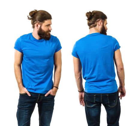 Young man with long hair and beard wearing blank blue shirt, front and back. Ready for your artwork.