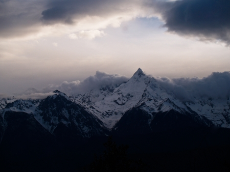 Kawagebo peak of Meili snow mountain at Deqing, Yunnan province, China  Stock Photo