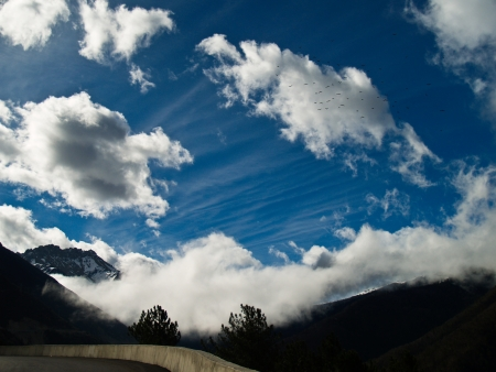 Blue sky and clouds at Deqing, Yunnan province, China  Stock Photo