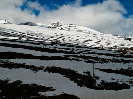 Layers of snow at Deqing, Yunnan province, China