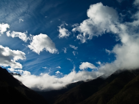 Blue sky and clouds at Deqing, Yunnan province, China