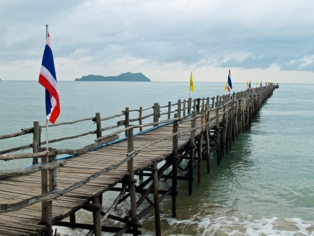 Wood jetty in Thai sea
