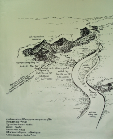 Map of Wat Poo in Southern Loas Editorial