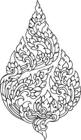 Leaf Pattern artistic of Thai Illustration