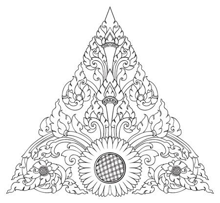 thai: Girasole pattern di triangolo artistico di Thai Vettoriali