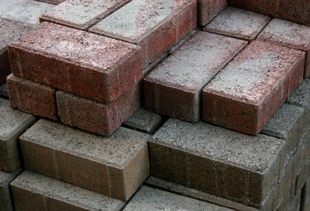 pileup: A stack of two diffrently colored bricks Stock Photo