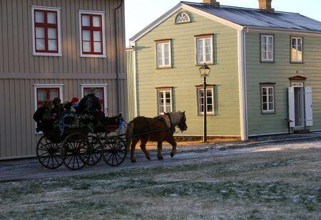 wildwest: Carrello del cavallo con il cavallo in una vecchia citt�