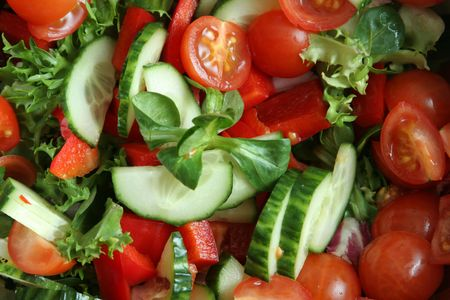 closeshot of organic salad cut and ready Stock Photo