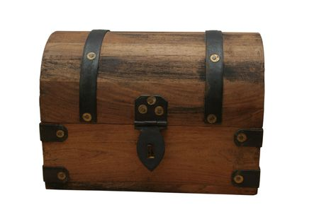 closed treasure chest made of wood with iron bindings