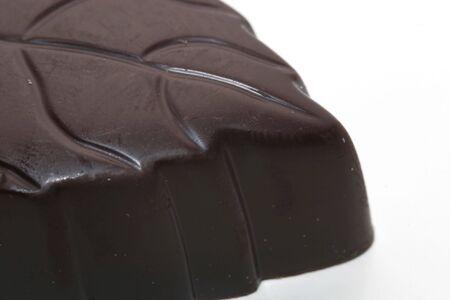 macro of dark belgian chocolate shot from the side