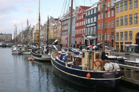 A streetscene from nyhavn in Copenhagen Denmark