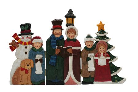 Christmas decoration, family singing christmas carols
