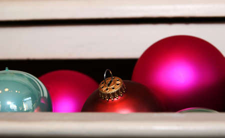 A cropped shot of christmastree decorations in a drawer Stock Photo - 755052