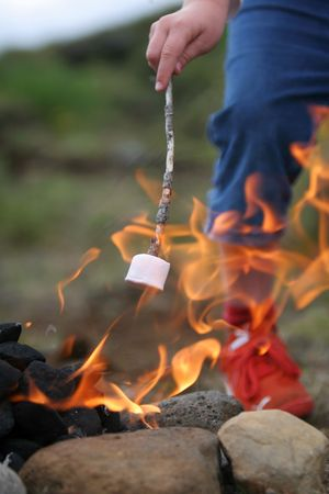 nightime: marshmallow on a stick being roasted over a camping fire