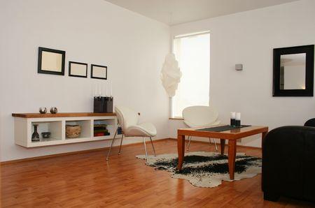 트렌디하고 현대적인 가구의 거실이며, 디자인이 잘되어 있습니다. 스톡 콘텐츠