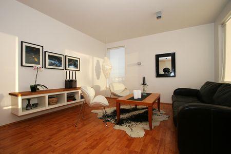 벽, 가을 테마, 검은 가죽 소파, 유행 깨끗 한 모습에 사진과 함께 거실 스톡 콘텐츠