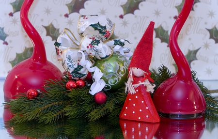 pine branch: A traditional christmas decoration, christmas ball with christmas bow tied to it, pine branch, copy space, red balls