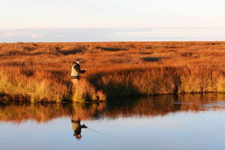 A man flyfishing in a beautyful setting, fish on the line